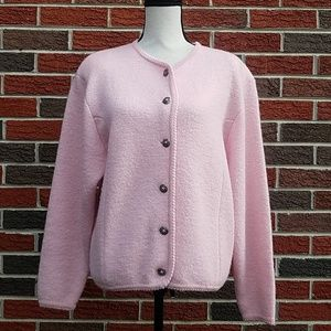 Tally ho pink vintage Wool cardigan sweater